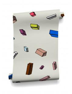 Papier peint design intissé Carlton Ivory au design original