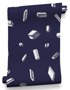 Papier peint design intissé Carlton Bleu au design original
