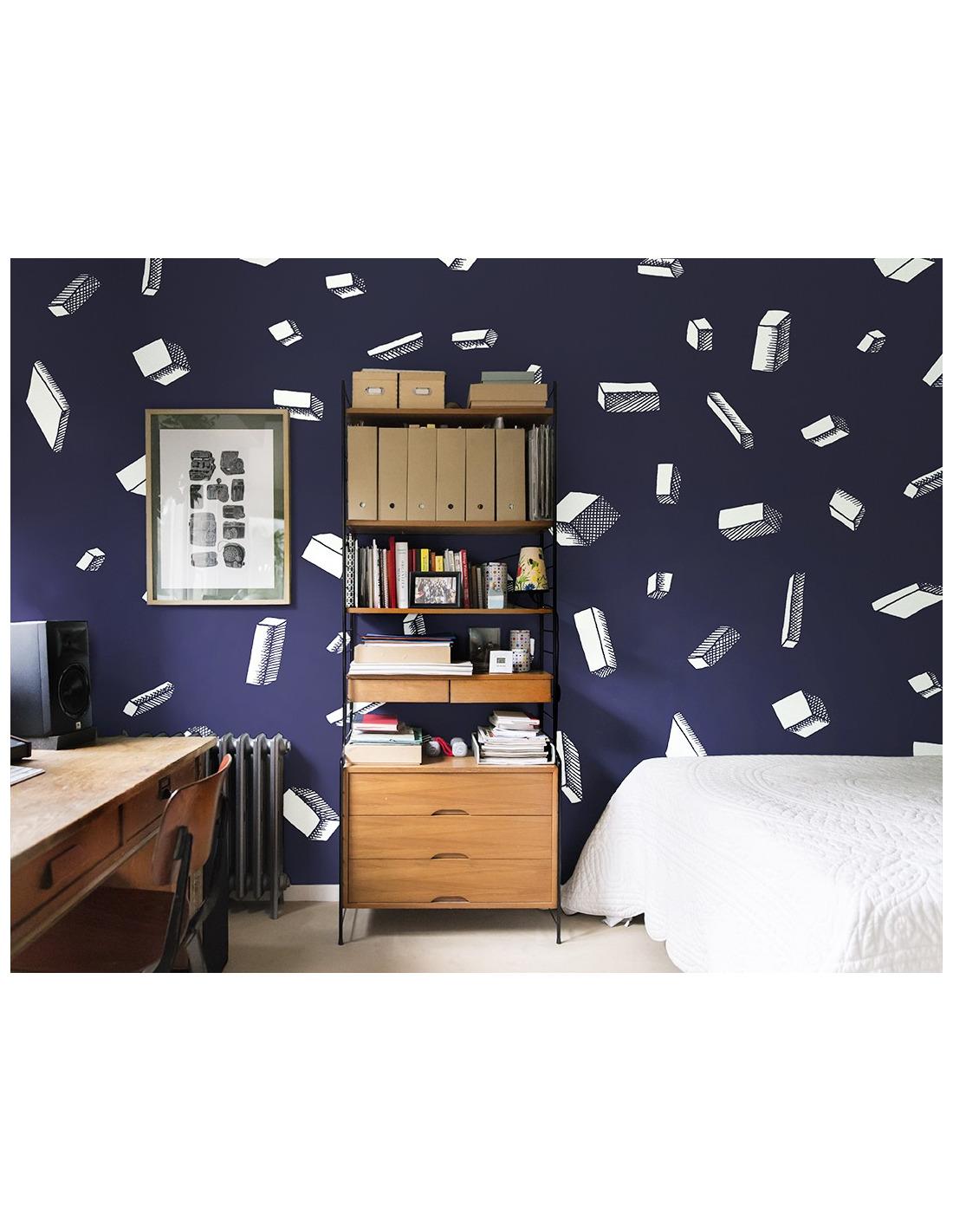 papier peint design intiss carlton bleu au design. Black Bedroom Furniture Sets. Home Design Ideas