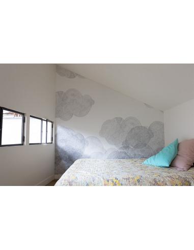 Papier Peint Design Intisse Cloudy En Forme De Nuage Pret A Poser