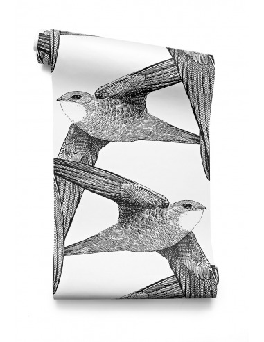 Papier peint design intiss white birds grands oiseaux - Poser papier peint intisse ...