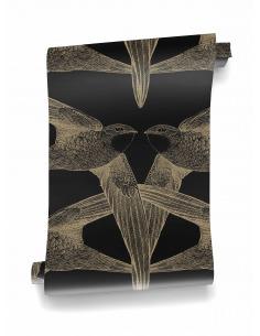 Papier peint design intissé Black Birds - grands oiseaux prêt-à-poser