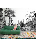 Papier peint design intissé The wild small - déco jungle prêt-à-poser
