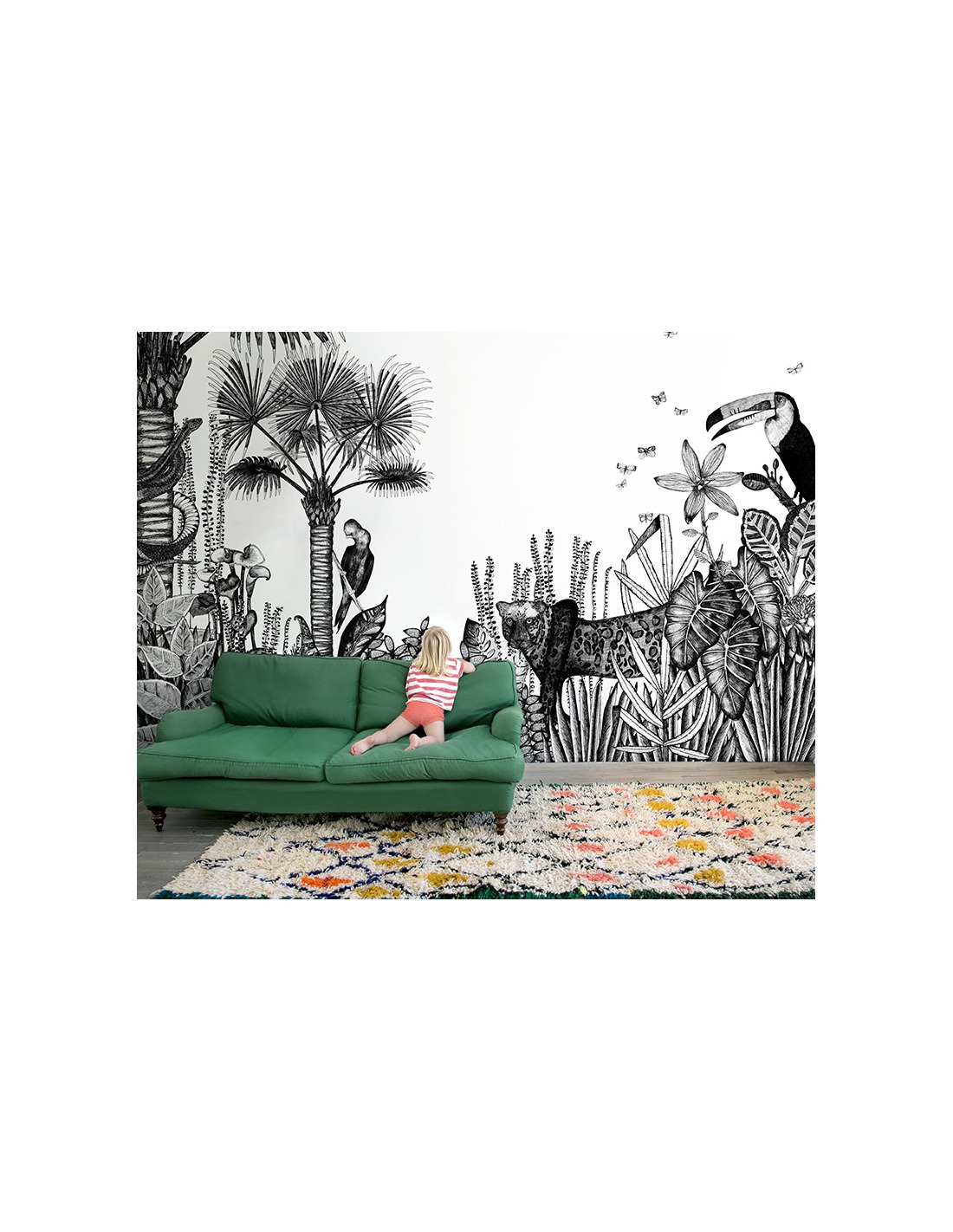 Papier peint design intiss the wild large d co jungle - Papier peint bien fait ...