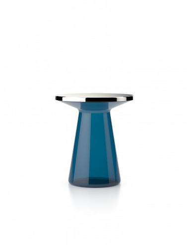 Table de chevet en verre bleu design FIGURE