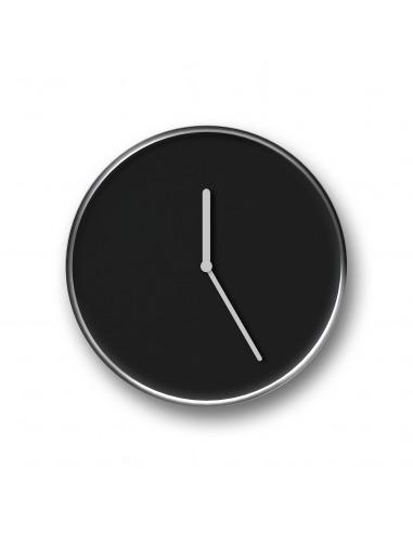 Horloge murale design et intemporelle Thin noir en acier par Lena Billmeier & David Baur