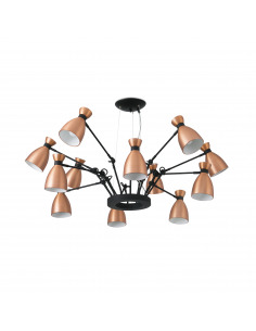Suspension Lustre Old school Cuivre x12 au design vintage et retro