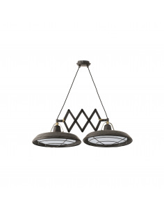 Suspension double extensible Atelier LED au design vintage et retro
