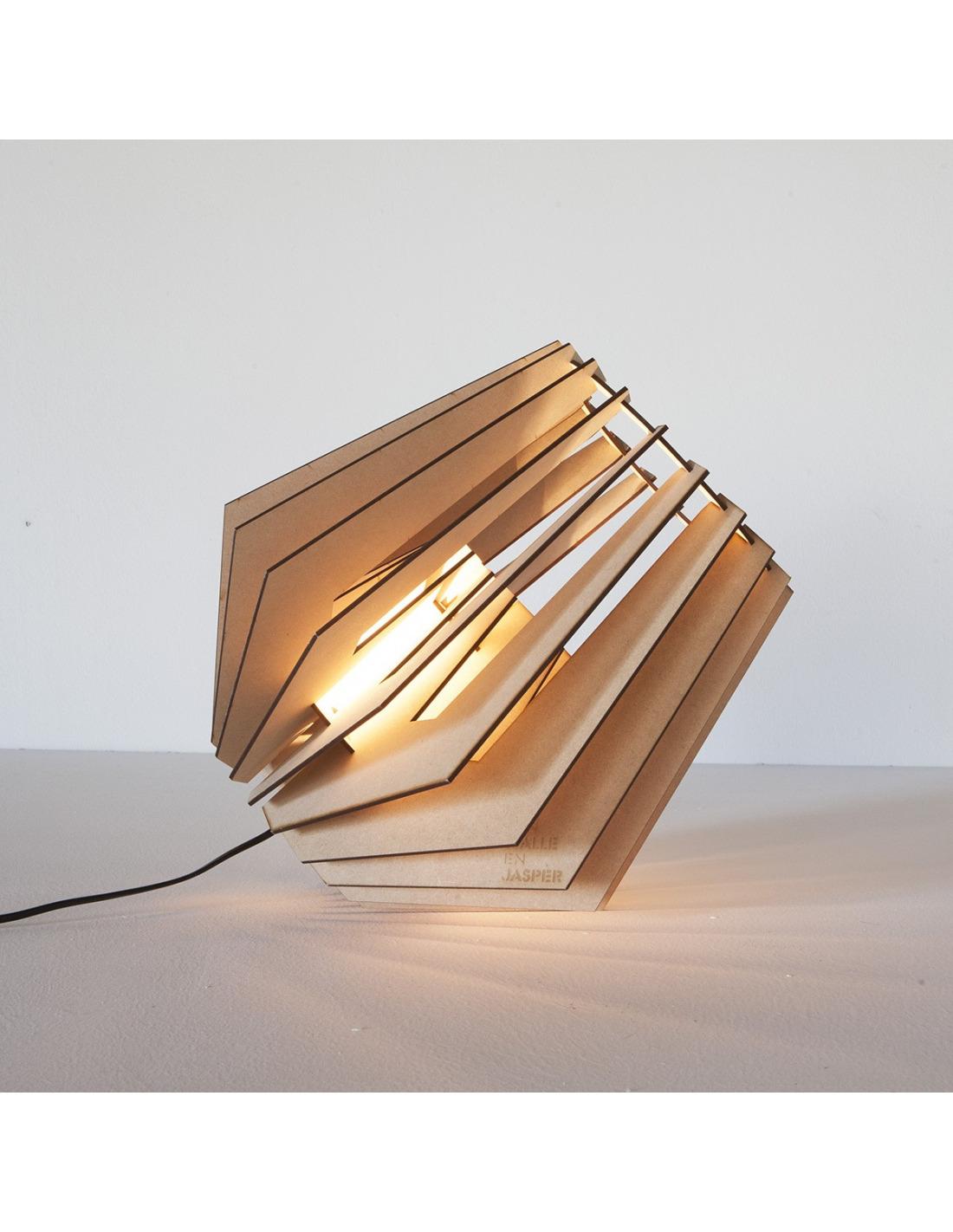 lampe poser spot nik en bois d coup au laser otoko. Black Bedroom Furniture Sets. Home Design Ideas