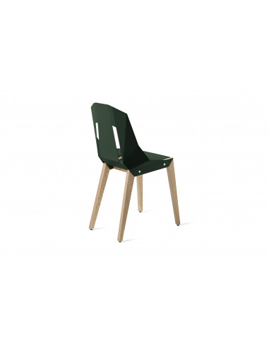 Chaise géométrique Diago en aluminium et bouleau au design minimaliste