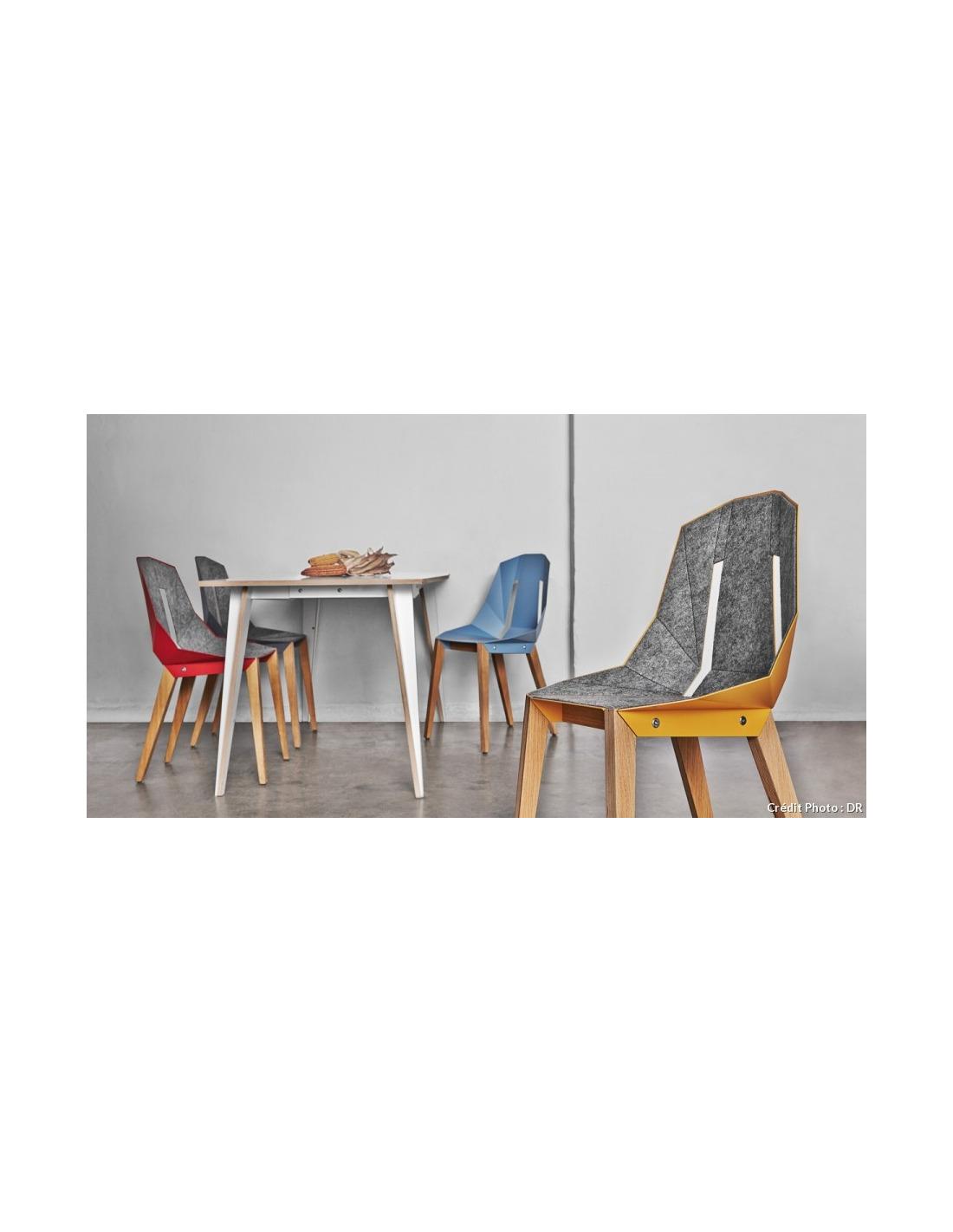 chaise g om trique diago feutre en aluminium et bouleau au design minimaliste otoko. Black Bedroom Furniture Sets. Home Design Ideas