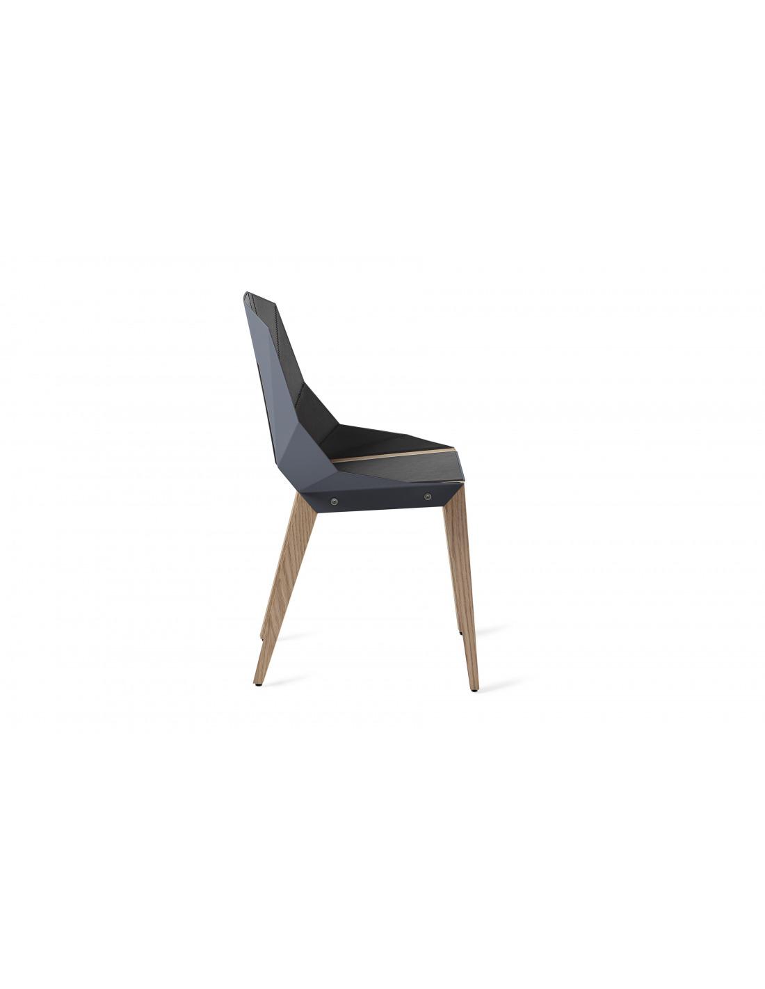 Chaise g om trique diago cuir en aluminium et bouleau au for Design minimaliste
