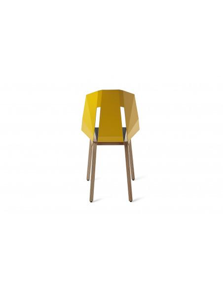 Chaise géométrique Diago Cuir en aluminium et bouleau au design minimaliste