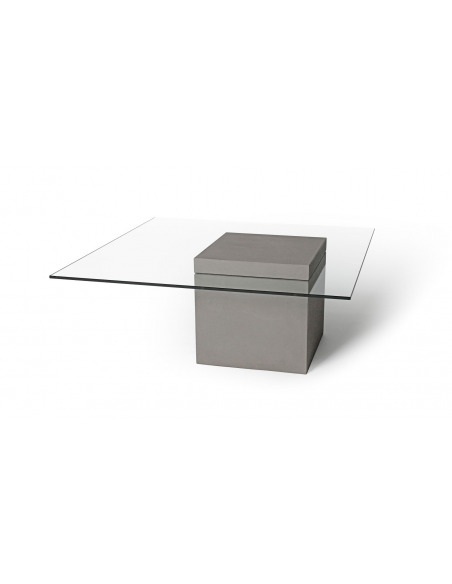 Table basse en béton et verre