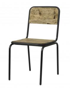 Chaise vintage Soho noir en métal et bois recyclé par Nordal
