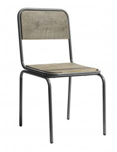 Chaise vintage Soho gris en métal et bois recyclé par Nordal