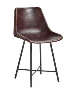 Chaise vintage Leather marron foncé en cuir de chèvre par Nordal