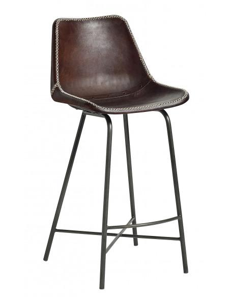 Chaise de bar vintage Leather marron foncé en cuir de chèvre par Nordal