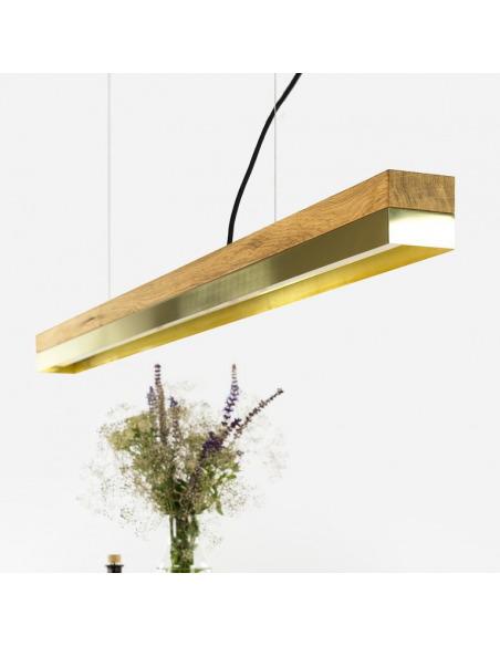 Suspension Design C1o Rectangular bois en chêne massif et laiton
