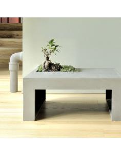 Table basse carrée design végétal en béton