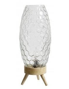 Lampe à poser HEXAGON en bois et verre par Nordal