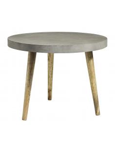 Table à manger ronde en béton noir au design contemporain par Nordal