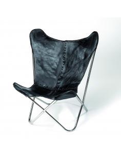 Fauteuil Butterfly noir en cuir de vachette par Nordal