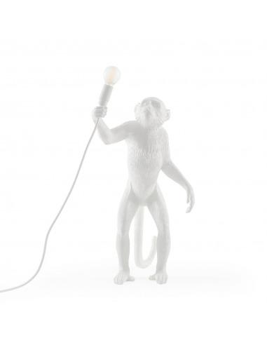 Lampe à poser the Monkey debout en résine blanc par Seletti