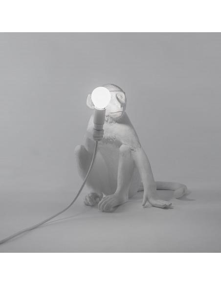 Lampe à poser the Monkey assis en résine blanc par Seletti