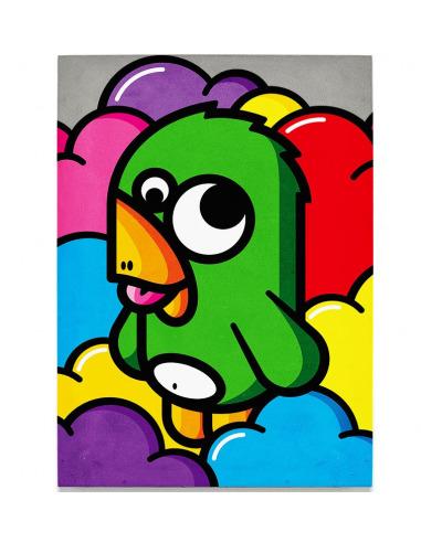 Tableau en béton oiseau vert par Birdy Kids Street Art et Lyon beton