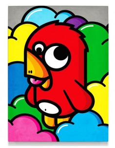 Tableau en béton oiseau rouge par Birdy Kids Street Art et Lyon beton