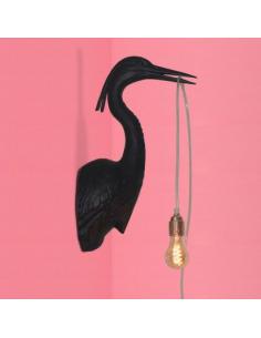 Applique murale originale et design Flying Dutchman noir en céramique noir en forme de héron
