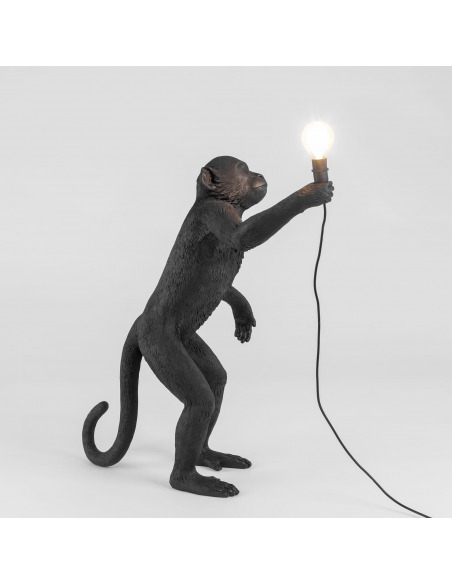 Lampe à poser the Monkey debout en résine noir par Seletti