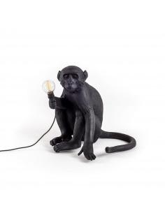 Lampe à poser the Monkey assis en résine noire par Seletti