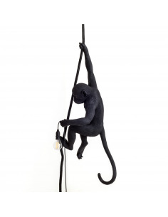 Suspension the Monkey en résine noire par Seletti