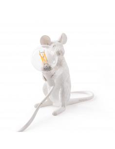 Lampe à poser Mouse assis en résine blanc par Seletti en forme de souris