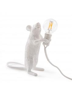 Lampe à poser Mouse debout en résine blanc par Seletti en forme de souris