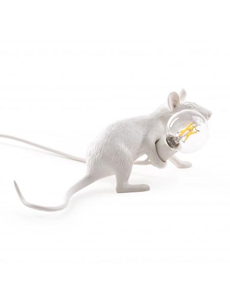 Lampe à poser Mouse couché en résine blanc par Seletti en forme de souris