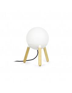 Lampe à poser Ovni avec une structure bois et un diffuseur de verre au design scandinave