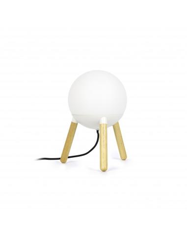 Bois Au De Poser Ovni Un Diffuseur Une Lampe Verre À Structure Avec Design Scandinave Et R345AjL