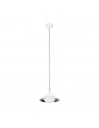 Suspension design Globy blanc en métal et verre par Alex & Manel Lluscà