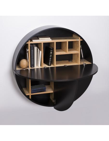 Bureau mural Pill noir en bois par Inesa Malafej au design scandinave