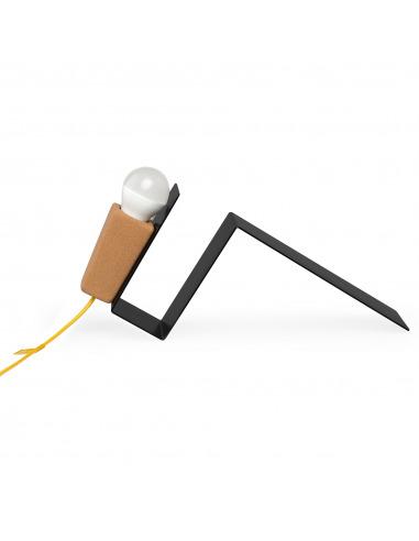 Lampe à poser aimantée Glint noir en liège et métal par Filipa Mendes & Gustavo Macedo