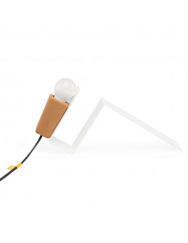 Lampe à poser aimantée Glint blanc en liège et métal par Filipa Mendes & Gustavo Macedo