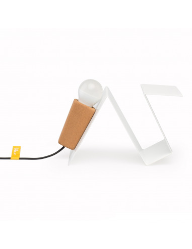 Lampe à poser aimantée Glint V2 blanc en liège et métal par Filipa Mendes & Gustavo Macedo