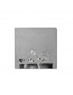 Tableau en béton design 3 Piou Piou par Lucie Albon - Lyon Beton