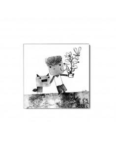 Tableau pour enfant en béton Têtes au carré par Lucie Albon - Lyon Beton