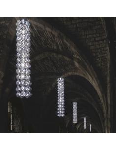 Suspension lustre TUBE en forme de colonne lumineuse avec abat-jour gonflable par Puff Buff