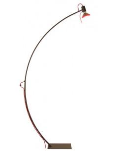 Lampadaire arqué noir/rouge 170 cm avec sensitive-touch au design minimaliste