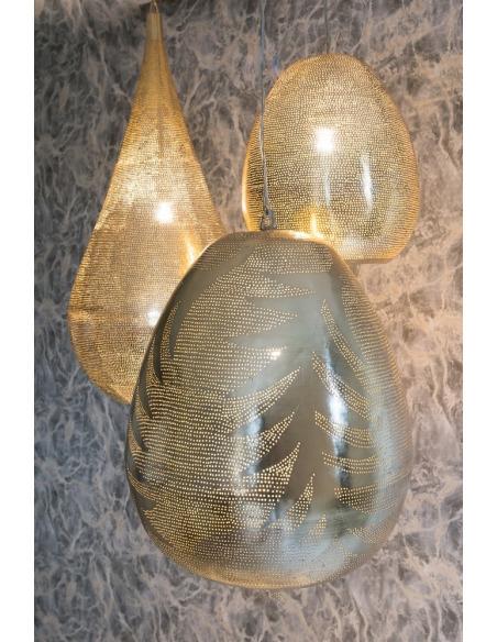Suspension orientale Tahrir Leaf Ø40cm Large Gold en laiton couleur or par Zenza